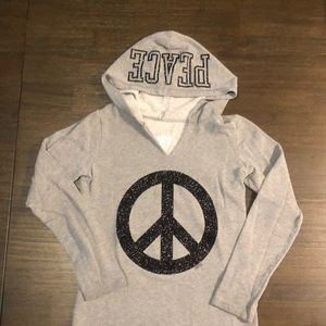 Justice Girls V-Neck PEACE Hoodie. Size 10